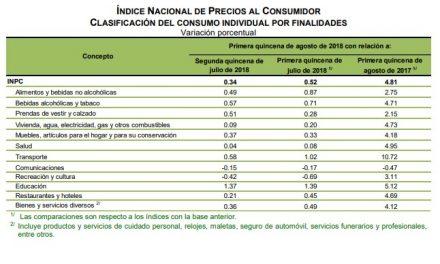 Hasta agosto, inflación del 4.81 %
