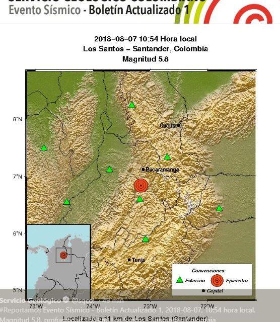 Sismo de 5.8 en Colombia
