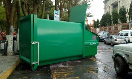 Colocan contenedor de basura eléctrico en el centro de Tulancingo