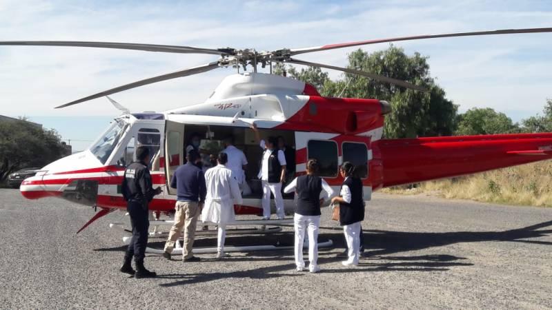 Trasladan en helicóptero a mujer de Huichapan que sufrío accidente
