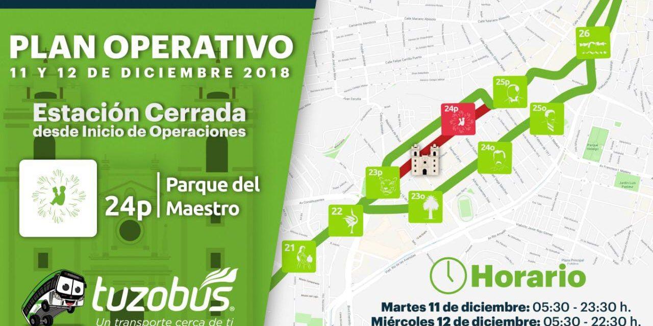 Modifican servicio de Tuzobús por festejos del 12 de diciembre