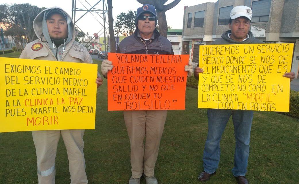 Trabajadores del municipio rechazan a Marfyl para servicios de salud