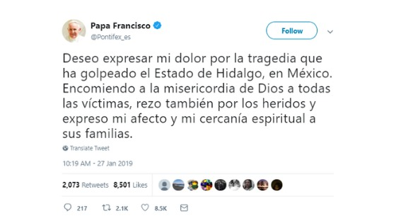 Papa expresa condolencias por tragedia en Tlahuelilpan