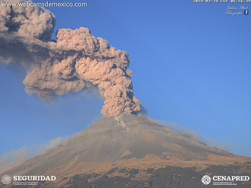 Aumenta alerta volcánica del Popocatépetl
