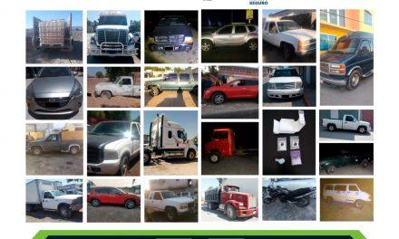 En operativo, asegura SSPH a cuatro por probables delitos y recupera 24 vehículos robados
