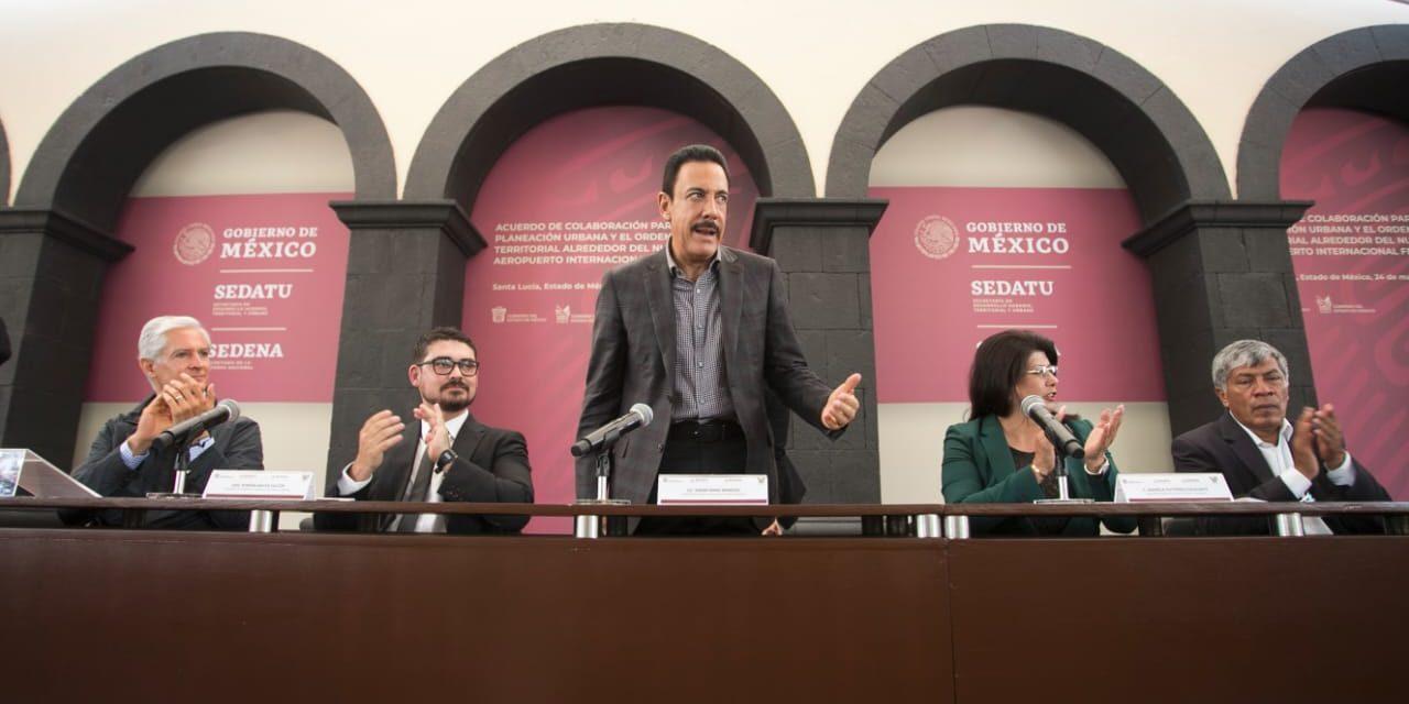 Firman Hidalgo, Sedatu y Edomex acuerdo de ordenamiento territorial en la zona del nuevo aeropuerto