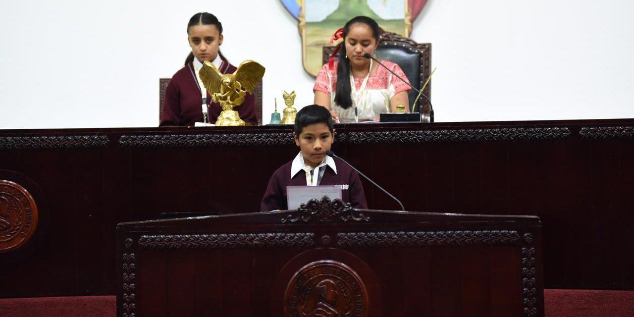Realizan sexto parlamento infantil en el Congreso local