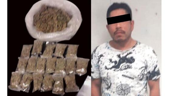 Asegura Policía Estatal a individuo con envoltorios de probable droga en Pachuca