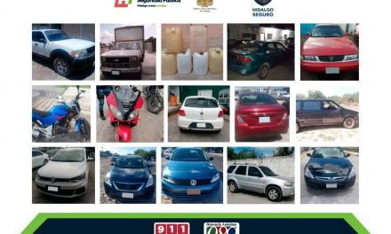 Recupera SSPH 24 autos robados y asegura 4 individuos