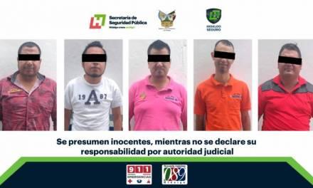 En operativo interestatal, asegura SSPH a 5 individuos con arma de fuego