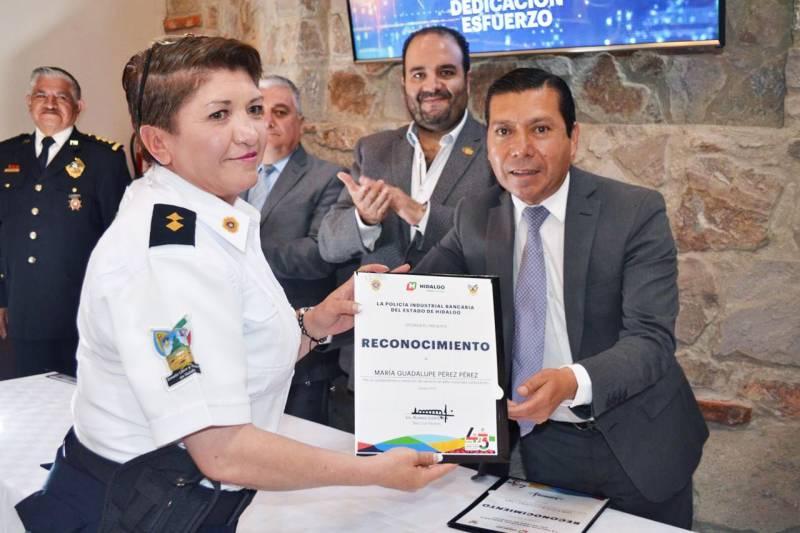 Reconocen a agentes de la Policía Industrial Bancaria de Hidalgo por desempeño ejemplar