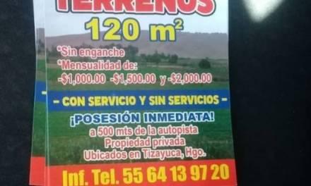 Denuncian venta de terrenos irregulares en Tolcayuca