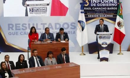 Rinde Raúl Camacho tercer informe de gobierno