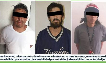 Asegura SSPH a 3 hombres con probable droga en Pachuca