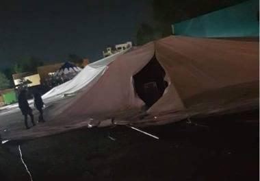Cae carpa de la Feria de Ciudad Sahagún, hubo 5 lesionados