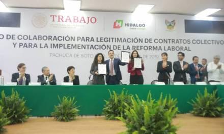 Hidalgo, primer estado en signar convenio para la implementación de la Reforma Laboral
