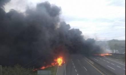 Pipa cargada de diesel explotó en Veracruz