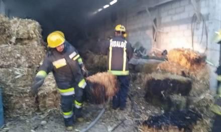 Bomberos atienden incendio en San Agustín Tlaxiaca