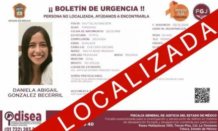 Localizan a Daniela González tras desaparecer este martes en Toluca