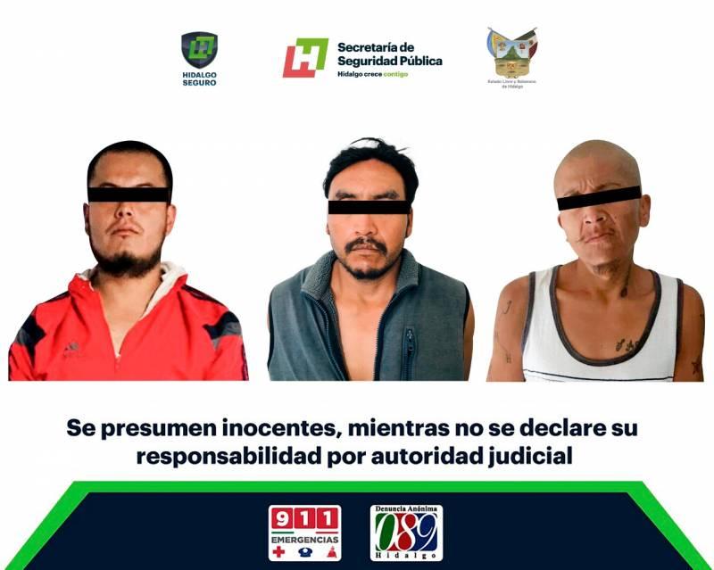 Asegura SSPH a tres individuos en Tula y Mixquiahuala por presunto narcomenudeo