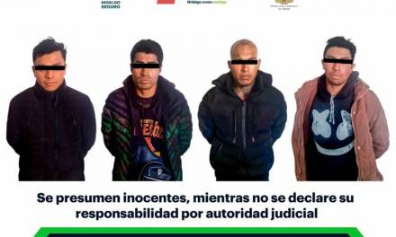 Asegura SSPH a cuatro presuntos desvalijadores en Tepeapulco