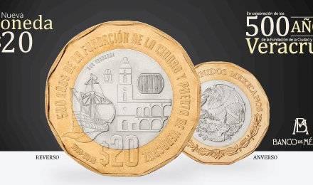 Banco de México lanza nueva moneda de 20 pesos