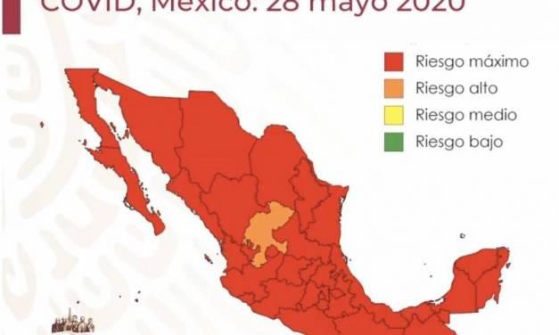 Salvo Zacatecas, todo el país está en riesgo máximo por el COVID-19