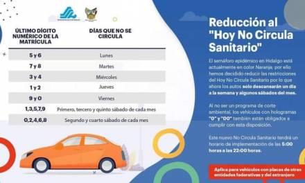 Modifican Hoy no Circula en Hidalgo ante cambio de semáforo de pandemia