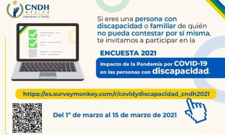Invita a participar en la encuesta sobre impacto de la Pandemia en personas con discapacidad