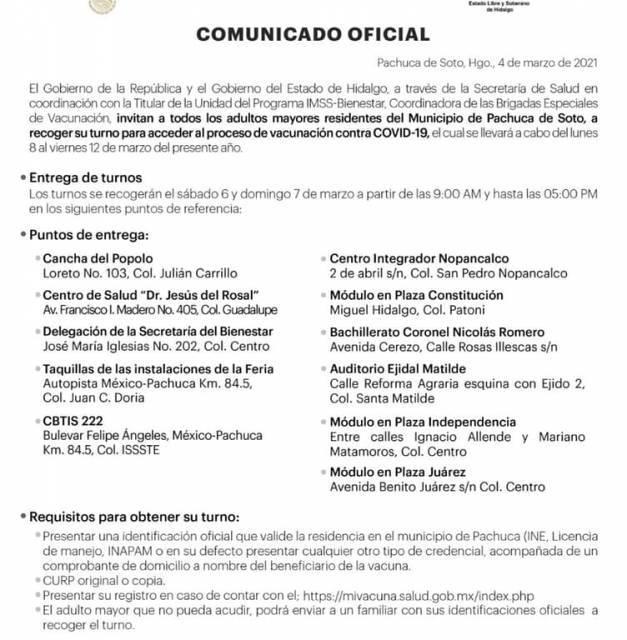 Vacunación en Pachuca será por turnos
