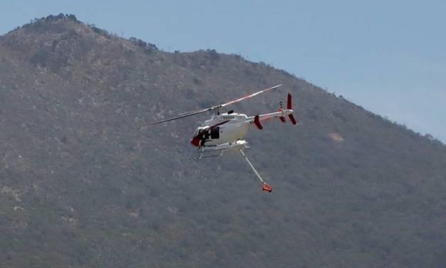 Emplean helitanque en incendio intermunicipal