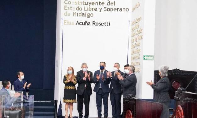 Develan el nombre de Elisa Acuña Rosetti, en el Muro de Honor del Congreso local