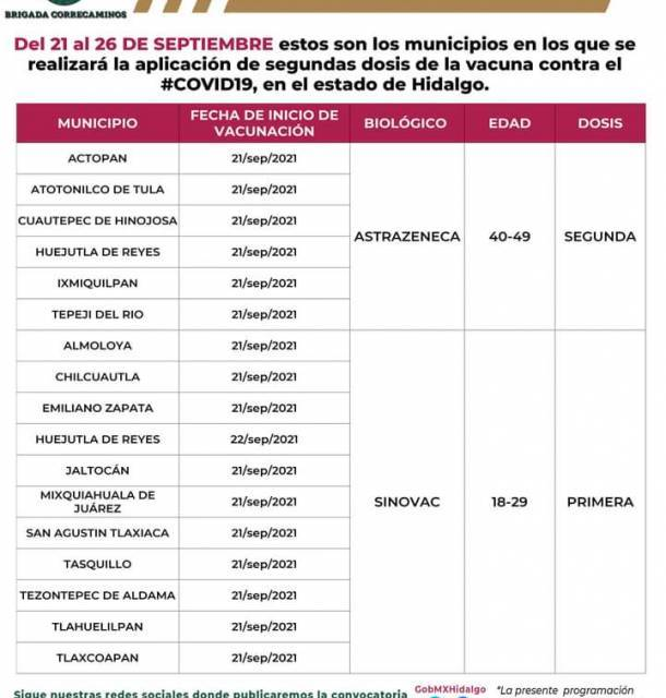 Arranca en 17 municipios vacunación de segundas dosis y primera de 18 años en adelante